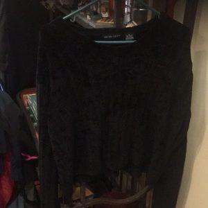 Women's black velour cropped sweater size xl euc